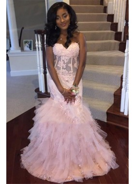 Cheap Pink Mermaid Sweetheart Strapless Ruffles Long 2021 African American Prom Dresses