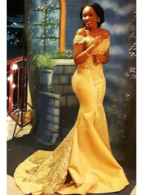 Sexy Gold Mermaid Off Shoulder Satin Beaded Long 2019 African American Prom Dresses