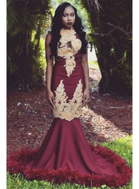 Charming Mermaid African American Burgundy and Gold Appliques High Neck Prom Dresses 2020