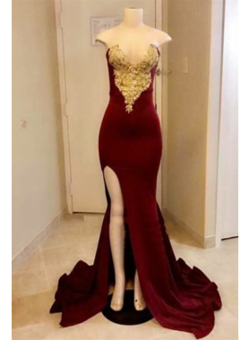 Charming Burgundy And Gold Appliques Sheath Sweetheart Side Slit Long Prom Dresses 2021