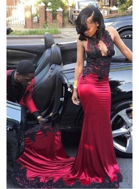 Sexy Burgundy and Black Appliques Elastic Satin Sheath Key Hole High Neck African American Prom Dresses 2019