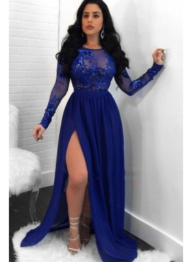 Charming A Line Side Slit Long Sleeves Chiffon Royal Blue See Through Prom Dresses 2020