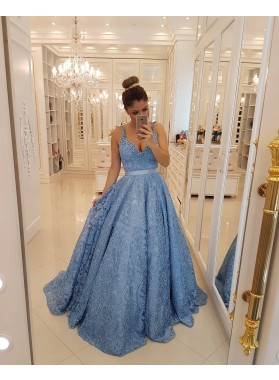 2019 New Arrival A Line Lace Sweetheart Blue Long Prom Dresses