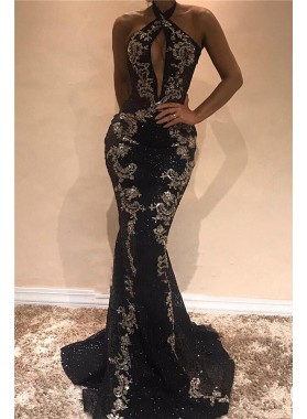 2021 Sexy Black and Silver Appliques Halter Backless Tulle African American Prom Dresses