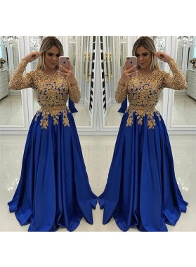 New Arrival A Line Satin Royal Blue and Gold Appliques Long Sleeves Prom Dresses 2019