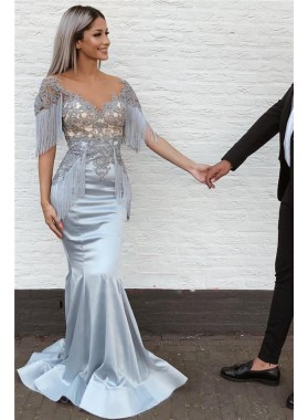2021 New Designer Mermaid Satin Silver Sweetheart Tassel Short Sleeves Prom Dresses