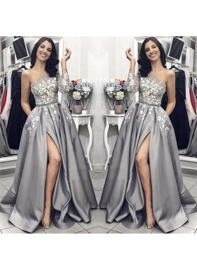 2019 New Designer A Line Satin Side Slit One Shoulder Gray and White Appliques Long Prom Dresses
