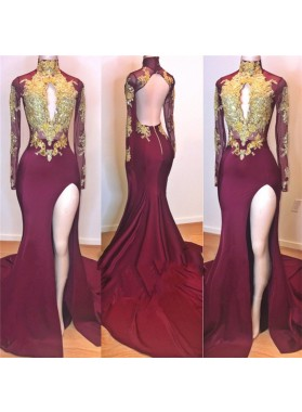 2019 Amazing Burgundy and Gold Appliques Long Sleeves High Neck Side Slit African American Prom Dresses