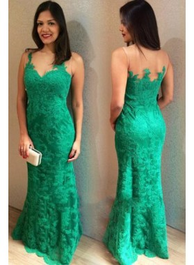 2020 Emerald Lace Sheath Sweetheart Floor Length Prom Dresses