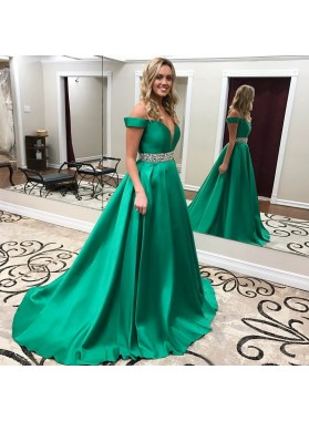 2020 Elegant A Line Satin Off Shoulder Beaded Sash Sweetheart Emerald Long Prom Dresses