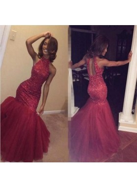 Sexy Mermaid High Neck Red Tulle Backless Beaded African American Prom Dresses 2019