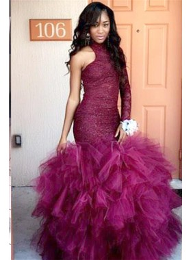 2019 Sexy Burgundy Beaded One Sleeve Mermaid High Neck Ruffles African American Prom Dresses