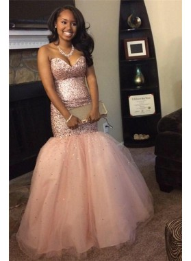 2020 Sexy Mermaid Sweetheart Peach Beaded Tulle African American Prom Dresses