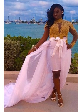 2020 Sheath White and Gold Appliques Long Sleeves Knee Length High Neck Short Prom Dresses