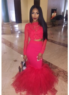 2020 Charming Red Mermaid Long Sleeves Two Pieces African American Prom Dresses