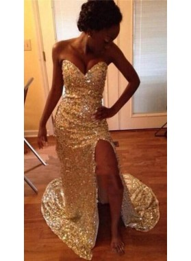 2020 Sheath Gold Sweetheart Side Slit Sequence African American Prom Dresses