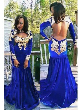 2021 New Arrival Royal Blue and Gold Mermaid Long Sleeves Velvet Backless African American Long Prom Dresses