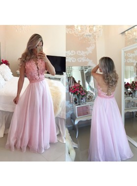 Cheap A Line Chiffon Pink Lace Backless Floor Length Prom Dresses 2021
