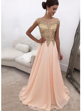 2019 Elegant Chiffon A Line Peach and Gold Appliques Prom Dresses