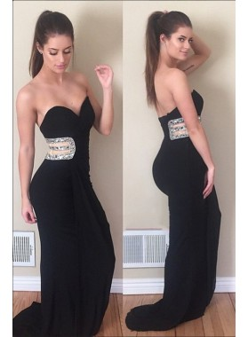 2020 Charming Black Sheath Sweetheart Stretchy Long Prom Dresses
