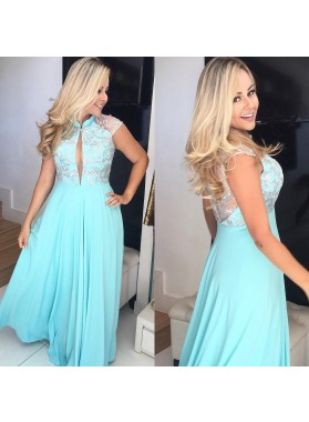2019 Elegant A Line Blue Chiffon High Neck Key Hole With Silver Embroidery Prom Dresses