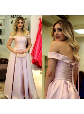 2021 Elegant A Line Satin Pink Off Shoulder Lace Up Back Long Prom Dresses