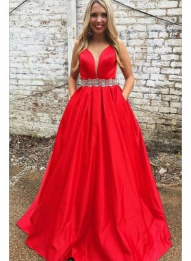 Elegant A Line Satin Red Sweetheart Beaded Sash Prom Dresses With Pockets 2020