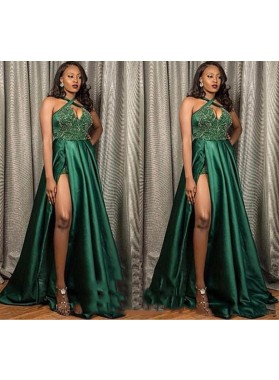 2020 New Arrival A Line Elastic Satin Hunter Halter Side Slit Prom Dresses