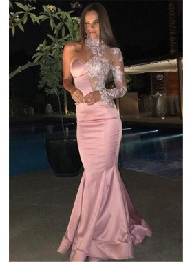 Charming Pink Satin One Sleeve High Neck Sweetheart Mermaid Long Prom Dresses 2021