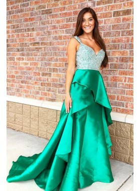 2021 A Line Green Sweetheart Beaded Ruffles Elastic Satin Long Prom Dresses