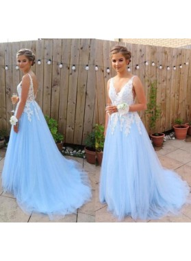 2020 Elegant A Line V Neck Tulle Blue and White Appliques Backless Prom Dresses
