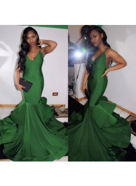 2021 Sexy Mermaid Hunter V Neck Halter Backless Spandex African American Prom Dresses