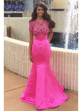 New Arrival Hot Pink Mermaid Satin Short Sleeves Beaded African American Prom Dresses 2020