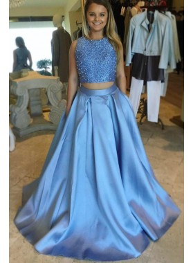 2021 Elegant A Line Satin Blue Beaded Two Pieces Sleeveless Long Prom Dresses
