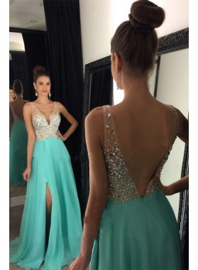 Cheap A Line Chiffon Turquoise Side Slit V Neck Beaded Backless Prom Dresses 2020