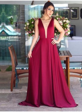 Cheap A Line Satin Burgundy V Neck Backless Long 2021 Prom Dresses