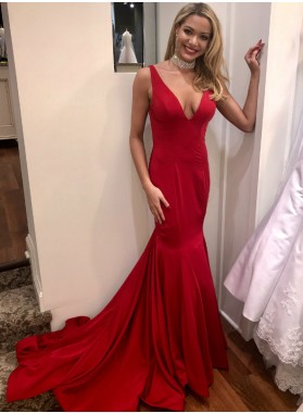 2020 Sexy Mermaid Red V Neck Backless Long Elastic Satin Prom Dresses