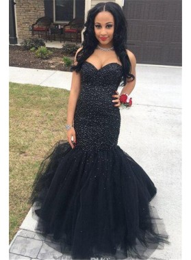 2021 Sexy Black Mermaid Tulle Sweetheart Beaded Lace Up Back Prom Dresses