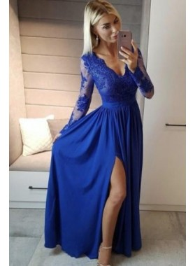 New Arrival A Line Long Sleeves Royal Blue Side Slit Lace V Neck Prom Dresses 2021