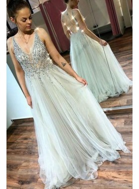 2021 New Arrival A Line Gray V Neck Beaded Sleeveless Long Prom Dresses