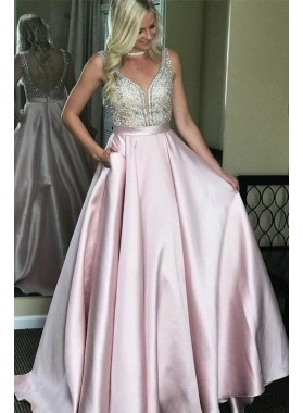 2020 New Arrival A Line Elastic Stain Blushing Pink Backless Sweetheart Long Prom Dresses