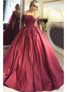 2020 New Designer Burgundy Long Sleeves Off Shoulder Lace Up Back Ball Gown Prom Dresses