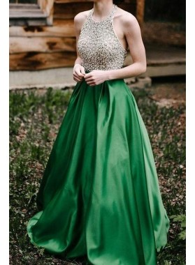 Elegant A Line Emerald Satin Backless Halter Beaded Long Prom Dresses 2019