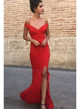 2020 Charming Red Sheath Off Shoulder Sweetheart Side Slit Prom Dresses