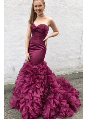 Amazing Mermaid Sweetheart Ruffles Organza Long Train Grape Prom Dresses 2020