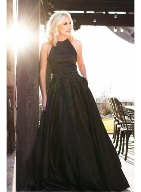2021 Cheap A Line Black Halter Backless Satin Beaded Long Prom Dresses