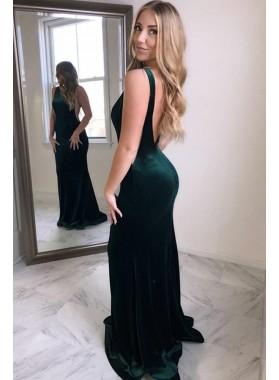 Sexy Dark Green Velvet Backless Mermaid Long Prom Dresses 2019