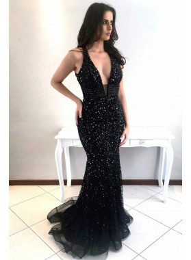 2021 Sexy Mermaid Black Deep V Neck Tulle Beaded Long Backless Prom Dresses