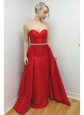 2021 Elegant Sheath Satin Sweetheart Red Beaded Long Prom Dresses