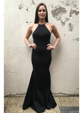 2019 Charming Sheath Halter Backless Black Plain Prom Dresses